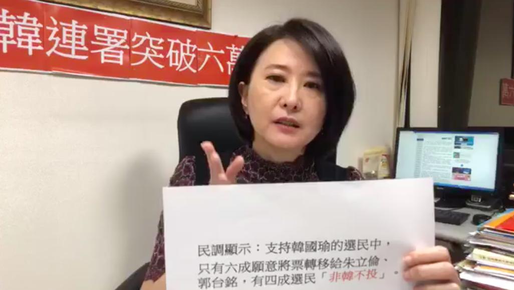 台北市議員王鴻薇透過臉書直播,分析「非韓不投」的實際數字。圖擷自FB: 王鴻...