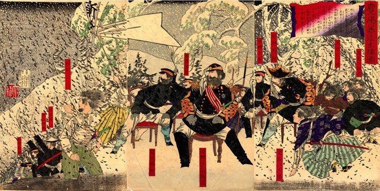 月岡芳年繪《鹿兒島暴徒出陣圖》。 圖/維基百科
