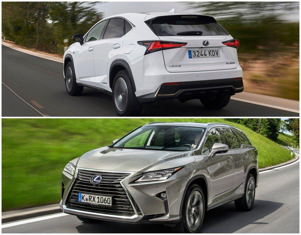 Lexus NX Hybrid與Lexus RX Hybrid。 摘自Lexus