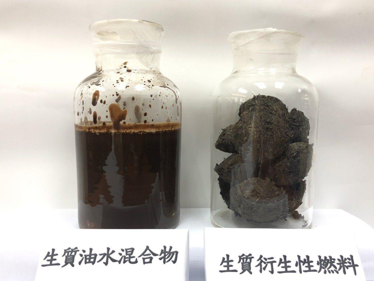 中華醫事科大教授郭益銘成功將生質廢油(左)提煉成高熱能燃料。圖/校方提供