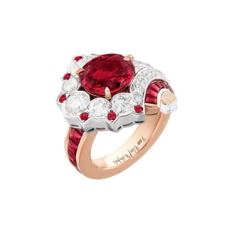 Ravinala 戒指,白K金與玫瑰金鑲嵌3.06克拉的橢圓型切割紅寶石、紅寶石...