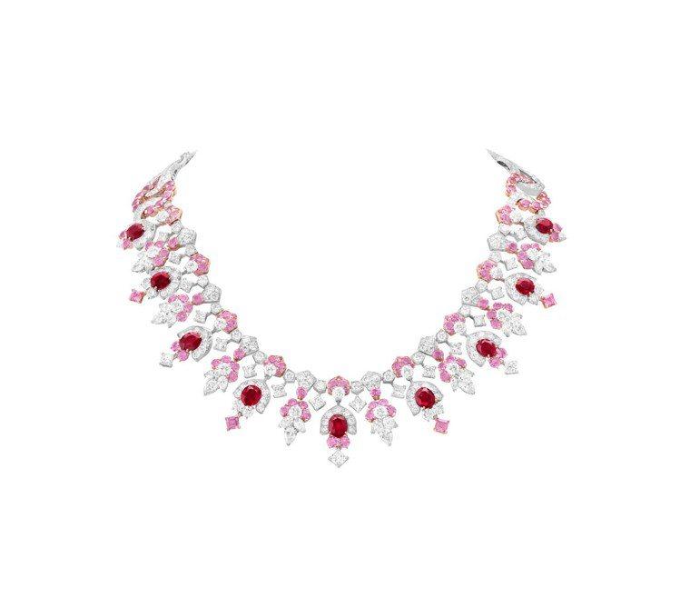 Broderie de fleurs項鍊,白K金與玫瑰金鑲嵌10顆紅寶石共14....