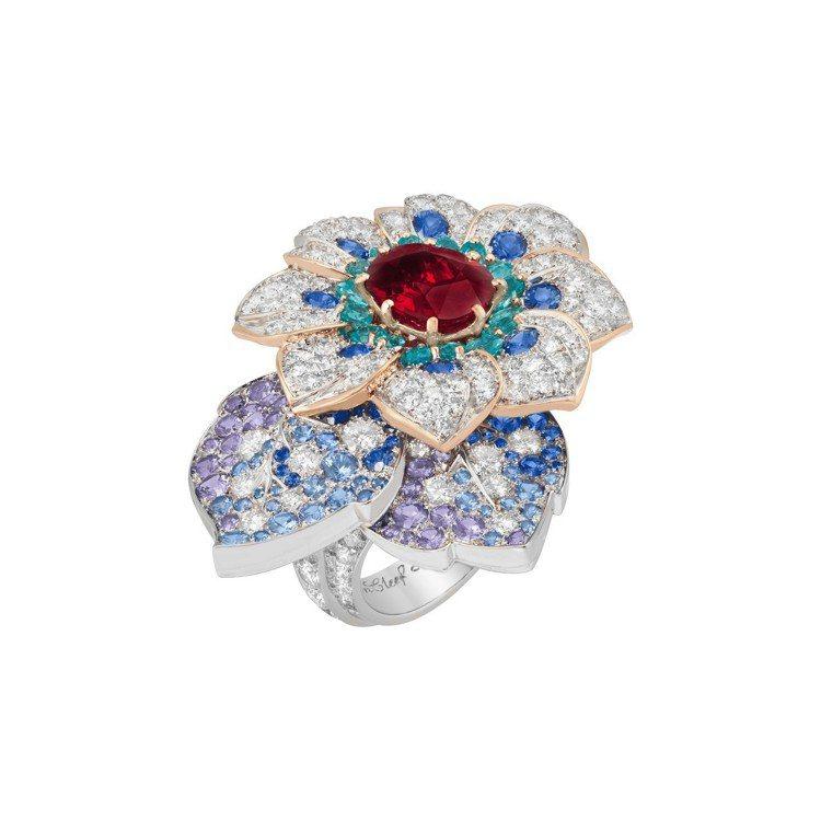 Azalée dOrient戒指,白K金與玫瑰金鑲嵌3.58克拉的枕型切割紅寶石...