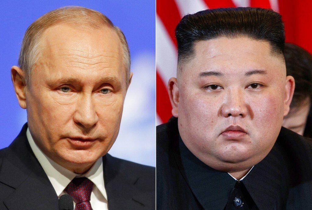 北韓領袖金正恩(右)和俄羅斯總統普亭25日將在海參崴會面。 美聯社