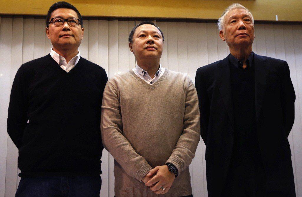 「佔中」三要角陳健民(左起)、戴耀廷、朱耀明。(路透資料照片)