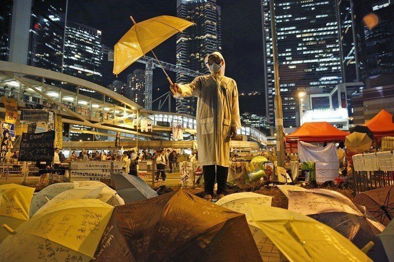 圖為2014年10月雨傘運動現場。 圖/美聯社