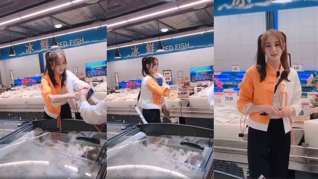 迪麗熱巴在市場買菜。圖/擷自微博
