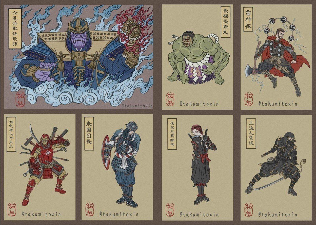 日本知名畫家Takumi Toxin將復仇者聯盟的角色依照不同的特性,畫出別具特...