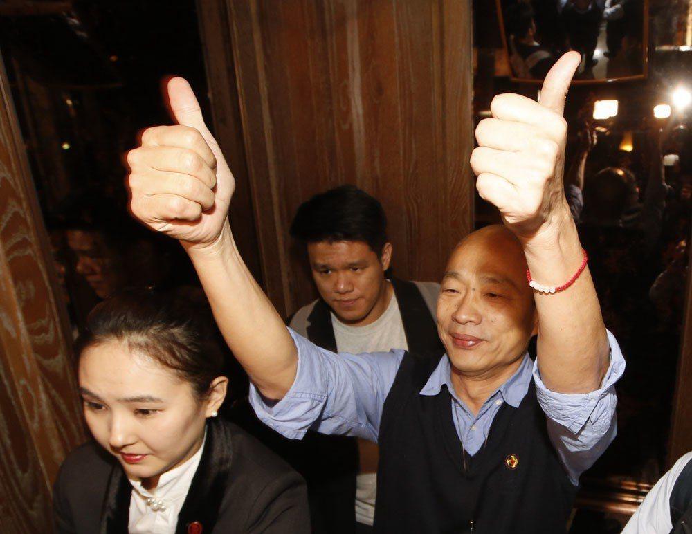韓國瑜很明顯是在向黨中央明確傳達一個意圖:徵召他參選總統。攝影/郭晉瑋