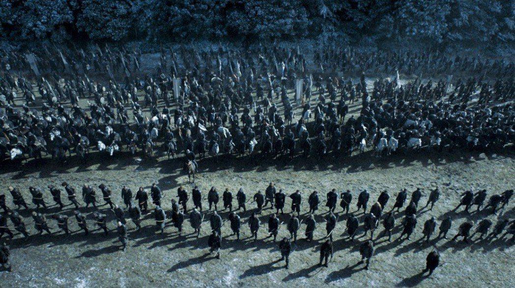 「冰與火之歌:權力遊戲」將在下周一(29日)上午首播電視史上最大的戰爭場面。圖/