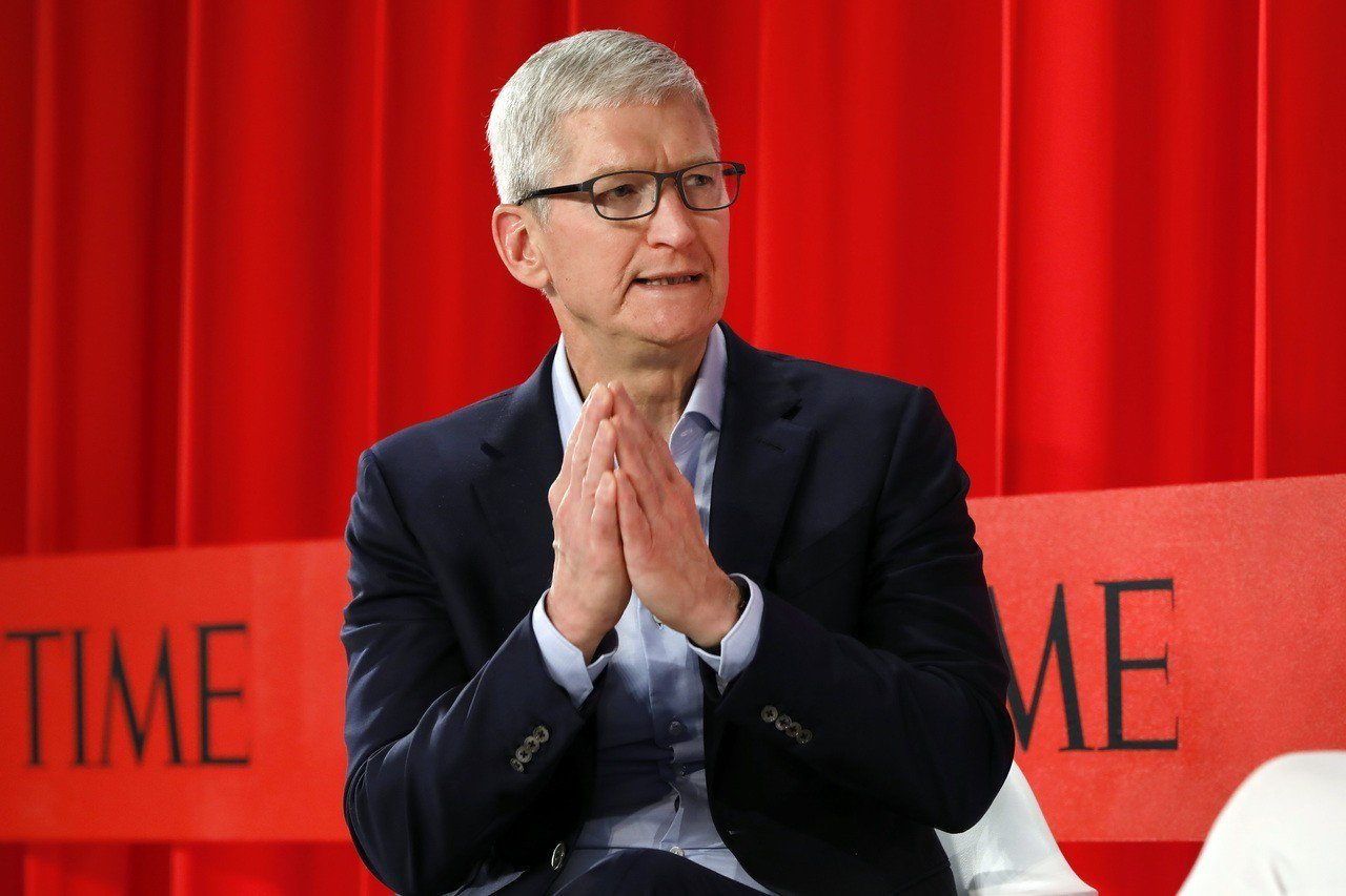 蘋果執行長庫克23日在紐約參加時代雜誌舉辦的「TIME 100 Summit」活...