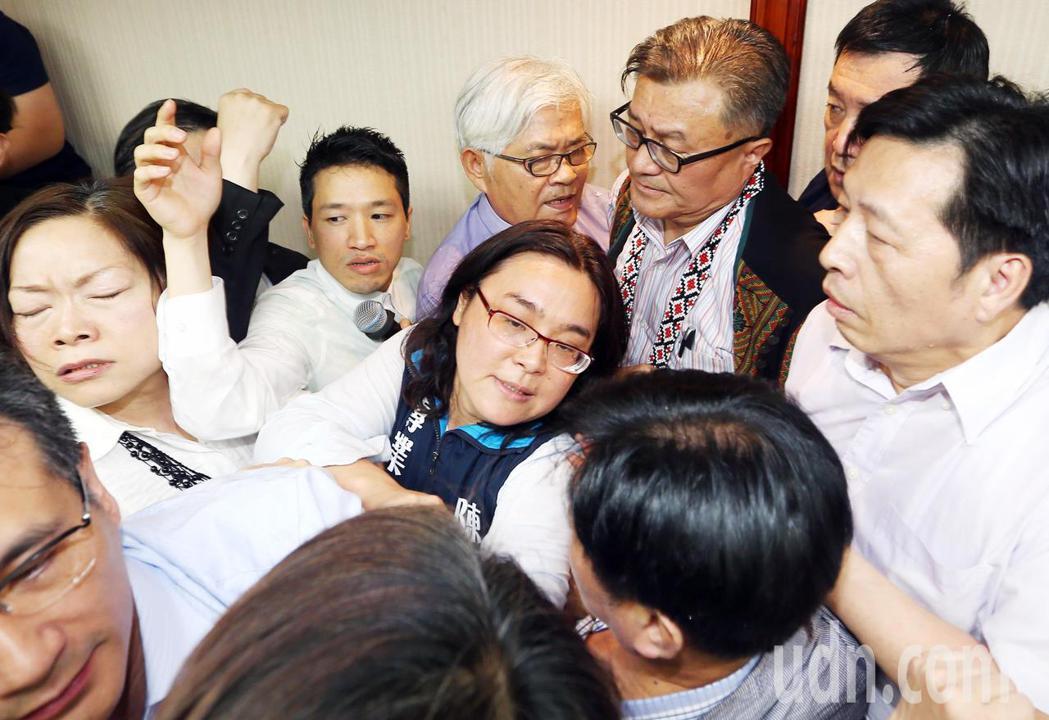 中選會主委被提名人李進勇被夾在藍綠雙方推擠的人群中。記者杜建重/攝影