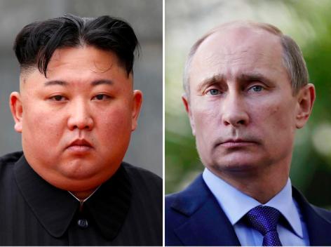 北韓領導人金正恩(左)將與俄羅斯總統普亭(右)舉行首次峰會。路透