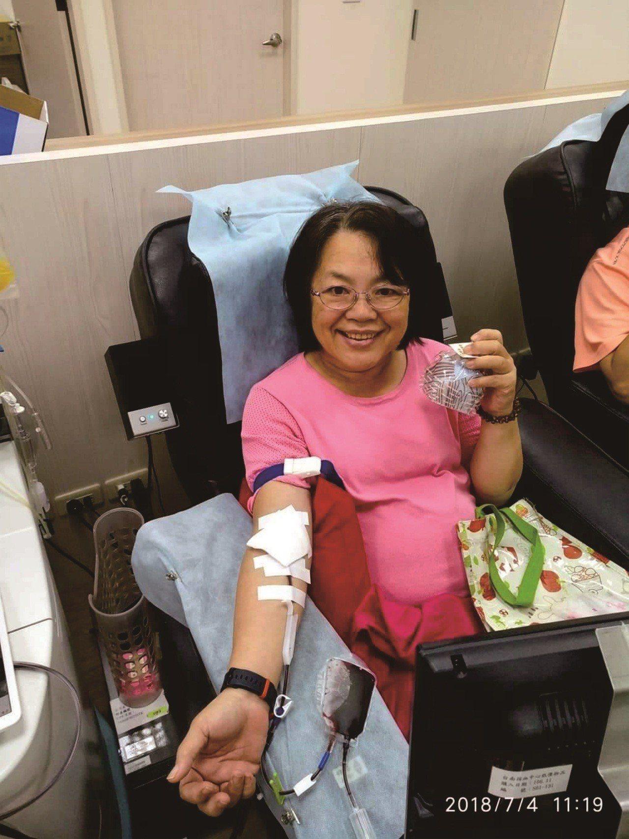 蘇雅美去年7月4日生日當天,特別去捐血慶祝。圖/捐血中心提供