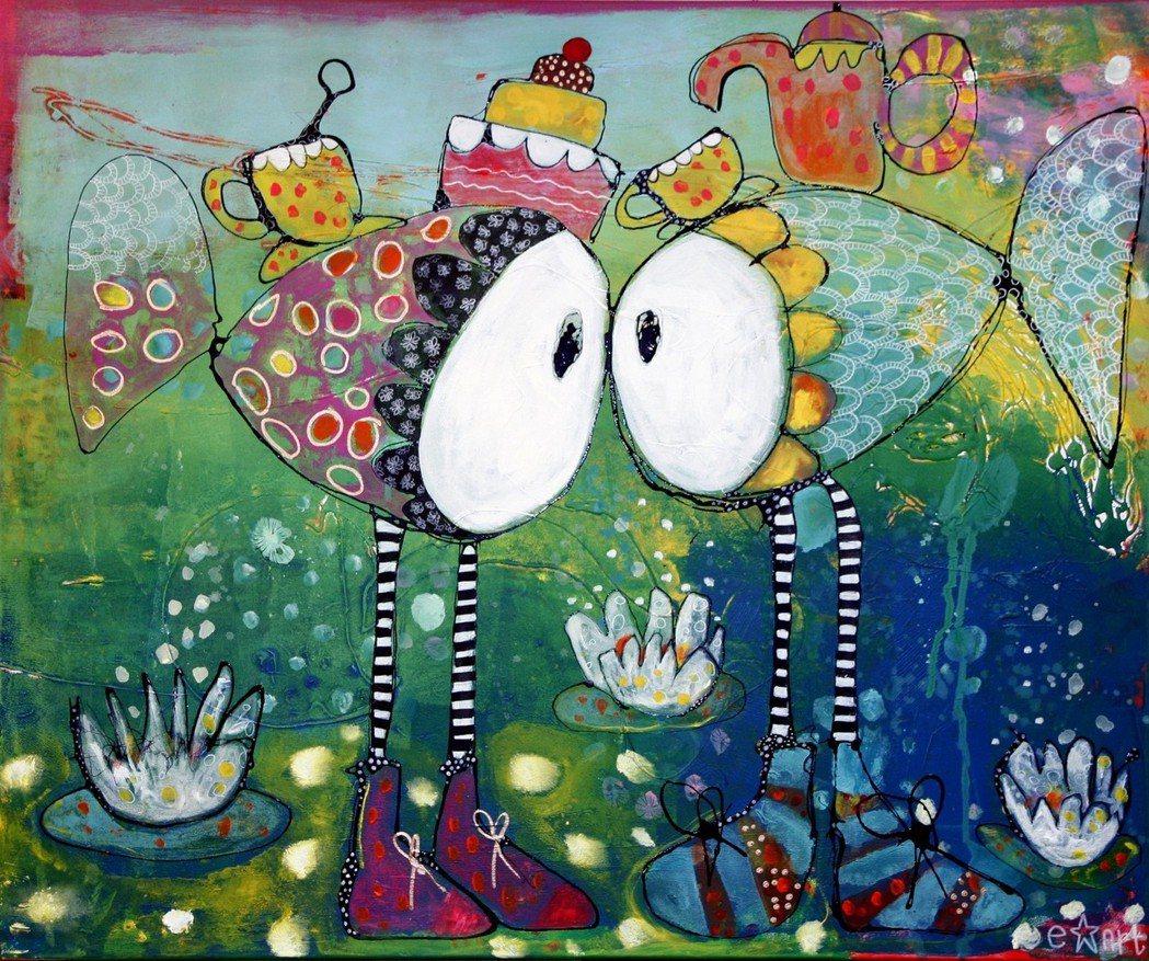 荷蘭Esther Ziher的《水中奇緣》-複合媒材,120×100cm,201...