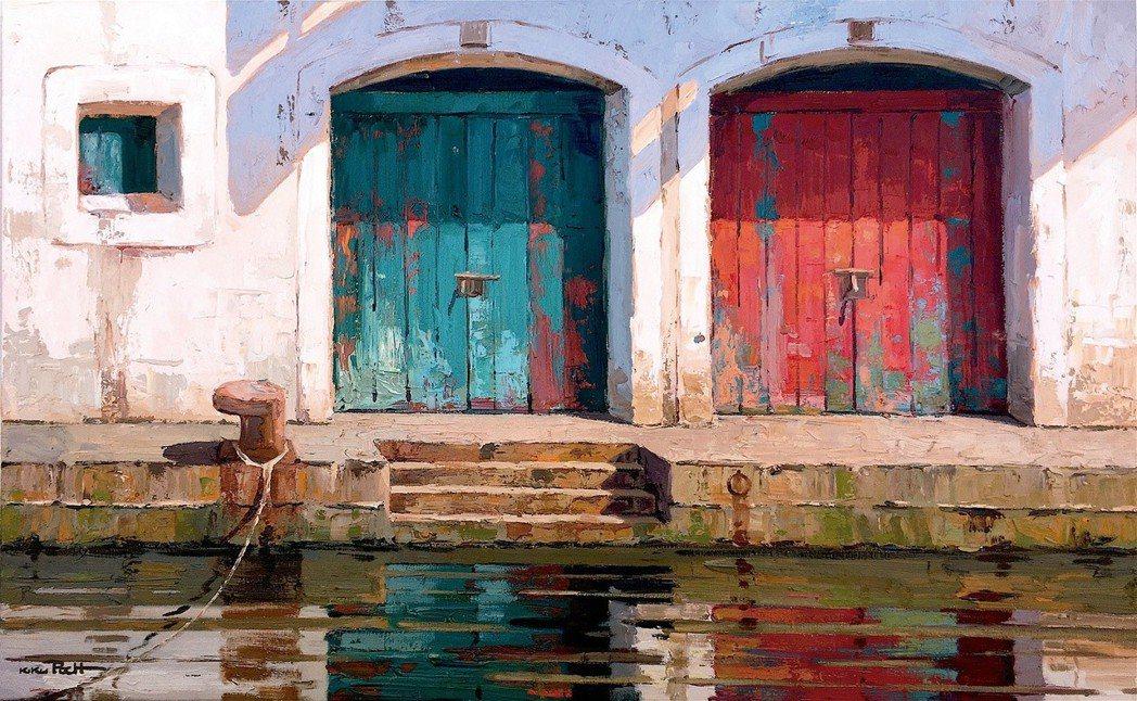 西班牙Kiku Poch的《老碼頭》-油畫,130×81cm,2018年。 圖/...