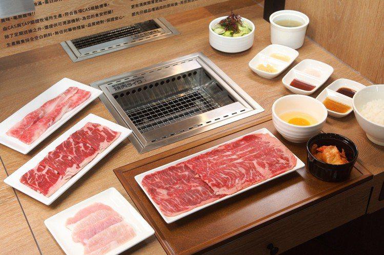 燒肉LIKE有多種燒肉套餐組合,也可自行加購肉品。記者陳睿中/攝影