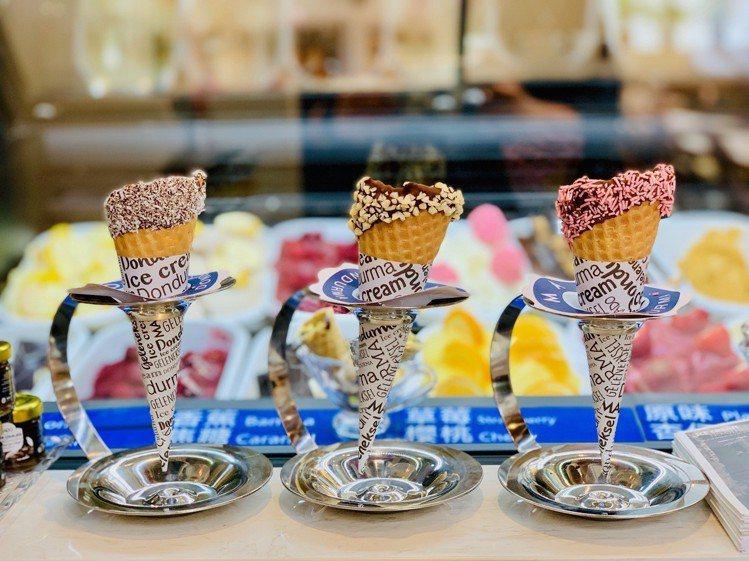 門市提供三款口味甜筒可選。記者張芳瑜/攝影