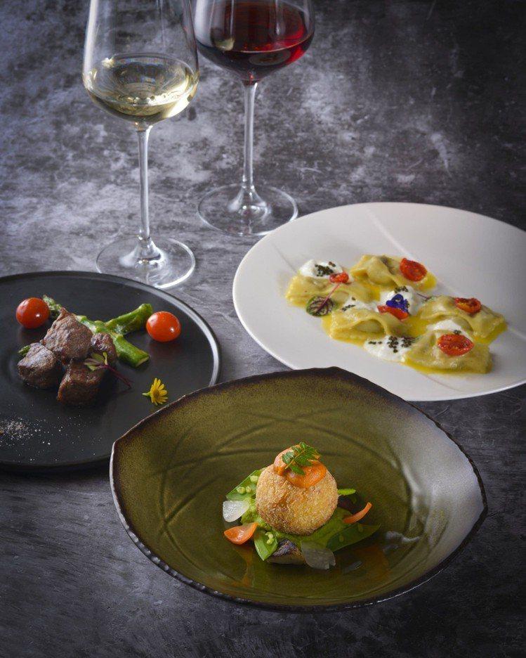 餐酒搭配晚宴的菜色,包含義式料理馬可波羅餐廳、日本料理ibuki、粵菜香宮等菜肴...