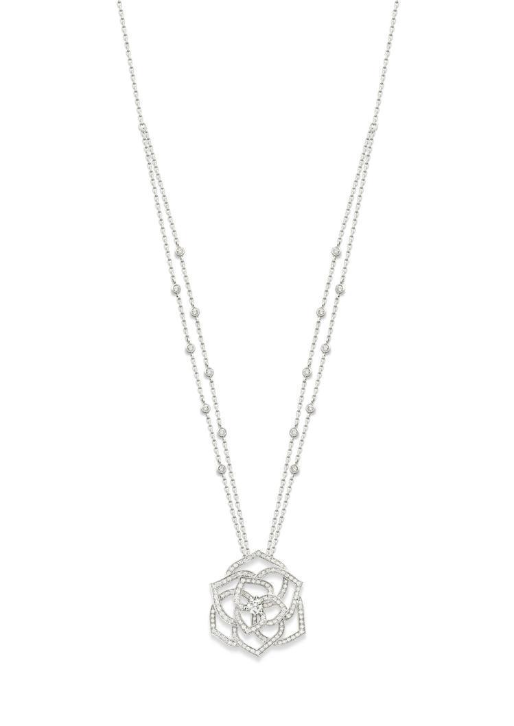 Piaget Rose系列項鍊,18K白金鑲嵌鑽石共約1.70克拉,46萬6,0...