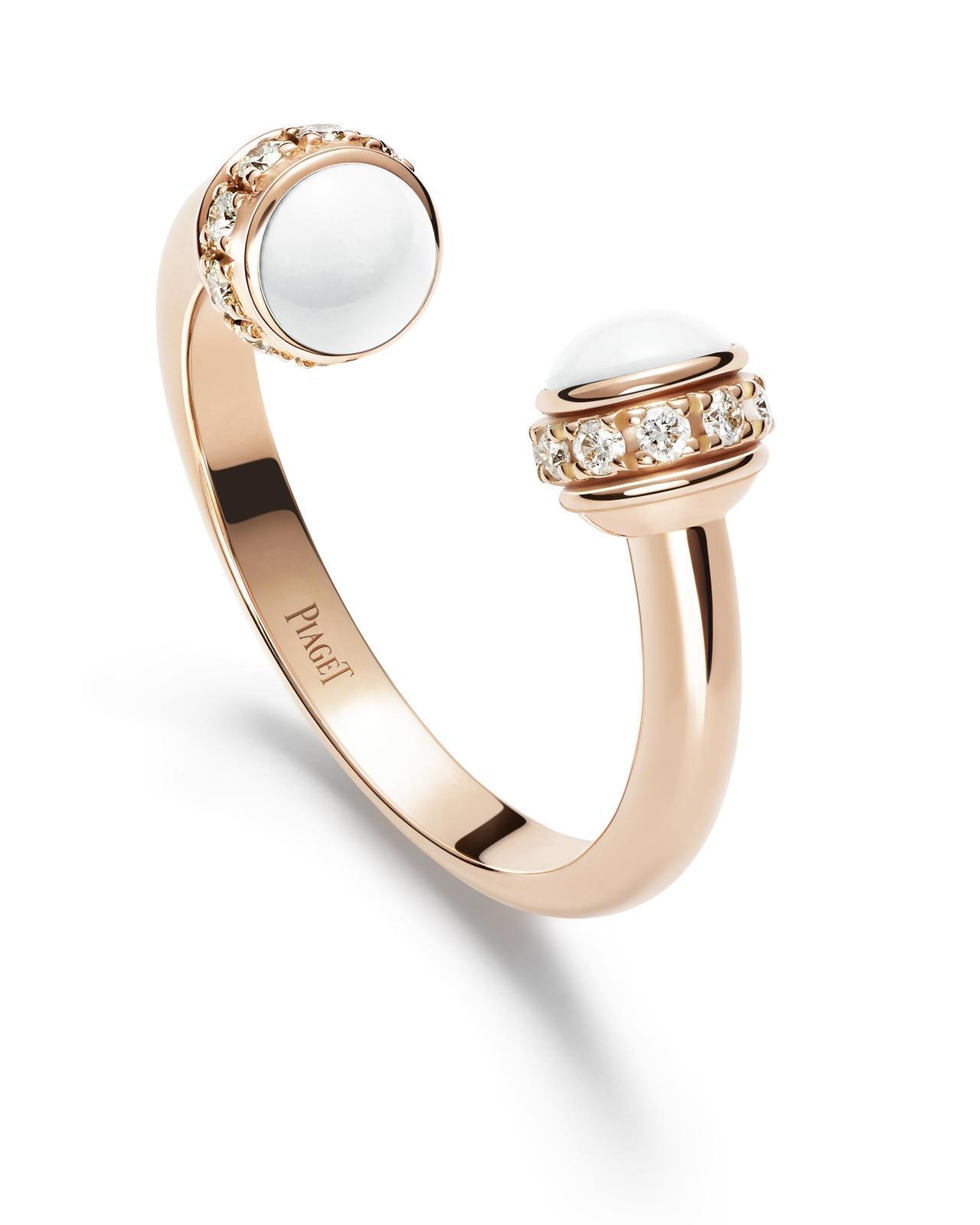 Possession系列戒指,18K玫瑰金鑲嵌美鑽與白玉髓,91,000元起。圖...