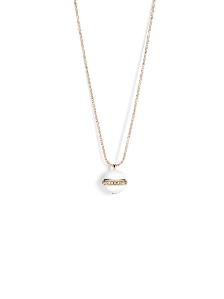 Possession系列墜鍊,18K玫瑰金鑲嵌美鑽與白玉髓,可將單圈長鍊轉換成雙...