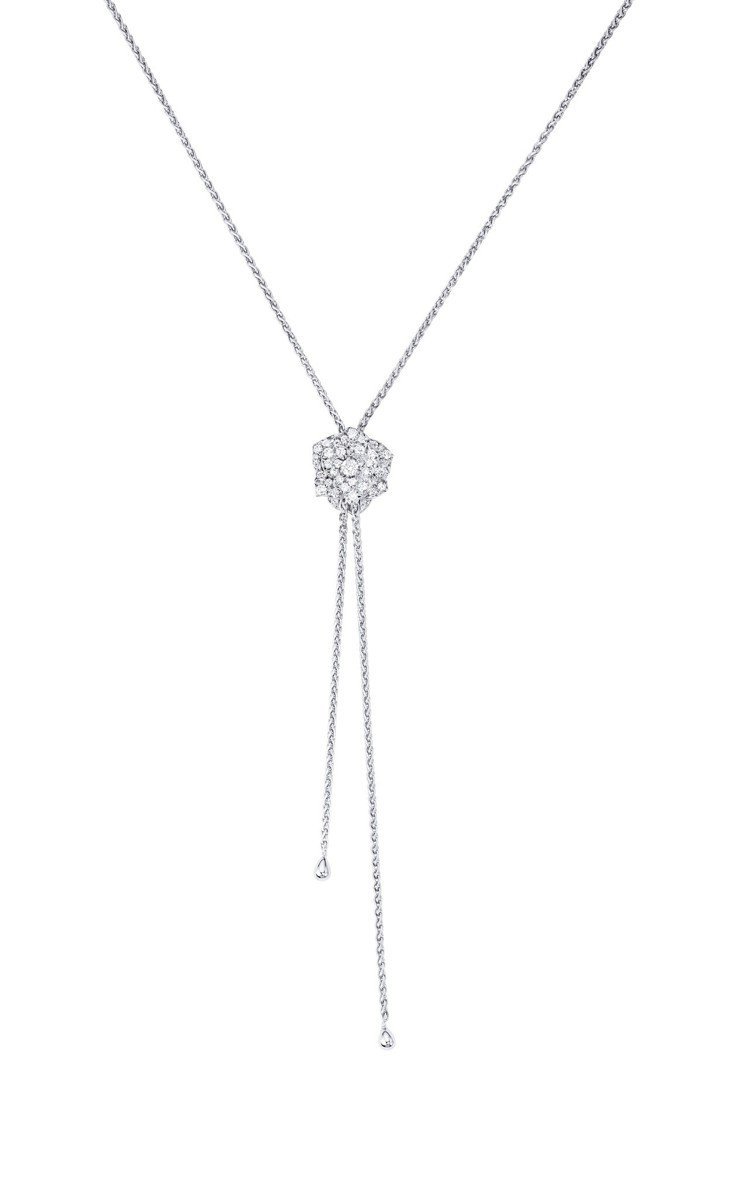 Piaget Rose系列項鍊,18K白金鑲嵌鑽石共約0.72克拉,31萬9,0...