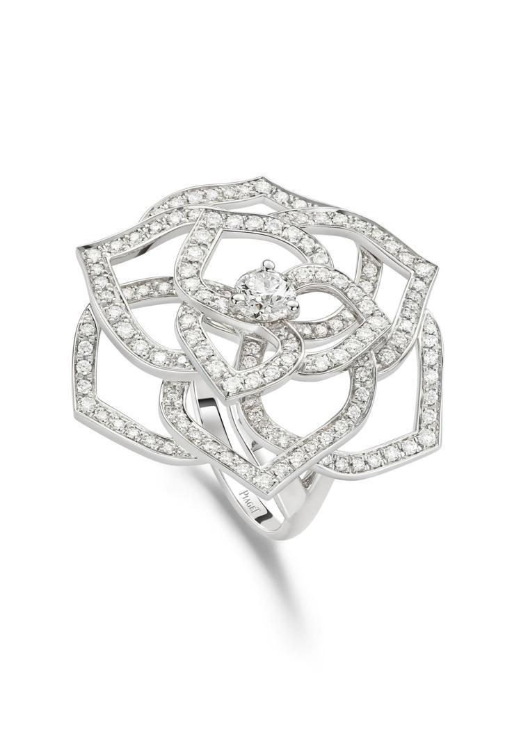 Piaget Rose系列指環,18K白金鑲嵌鑽石共約1.20克拉,40萬元起。...