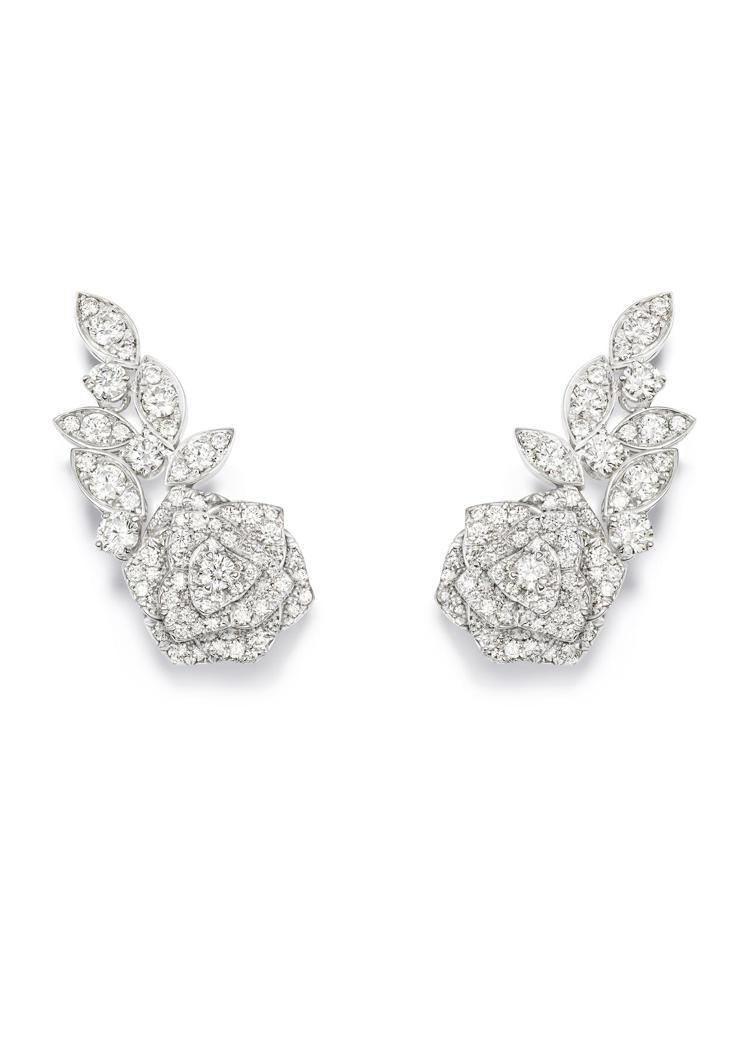 Piaget Rose系列耳環,18K白金鑲嵌鑽石共約4.32克拉,96萬5,0...