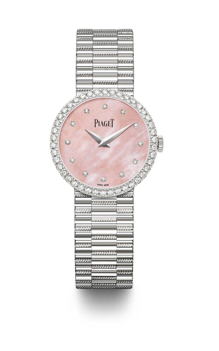 Tradition腕表,26毫米18K白金鑲鑽表殼、粉色珍珠母貝表盤、430P超...
