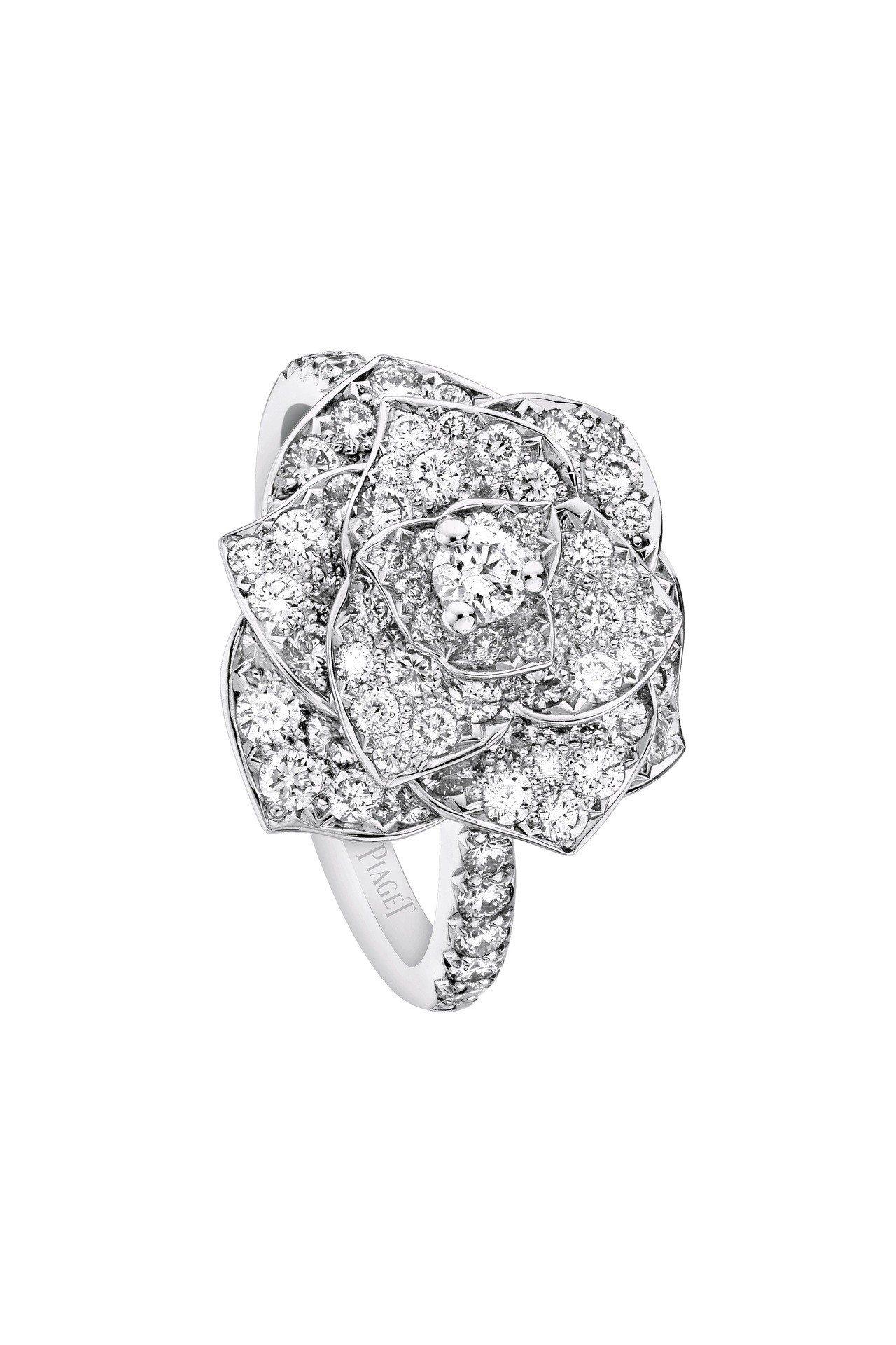 Piaget Rose系列指環,18K白金鑲嵌鑽石共約1.40克拉,35萬3,0...