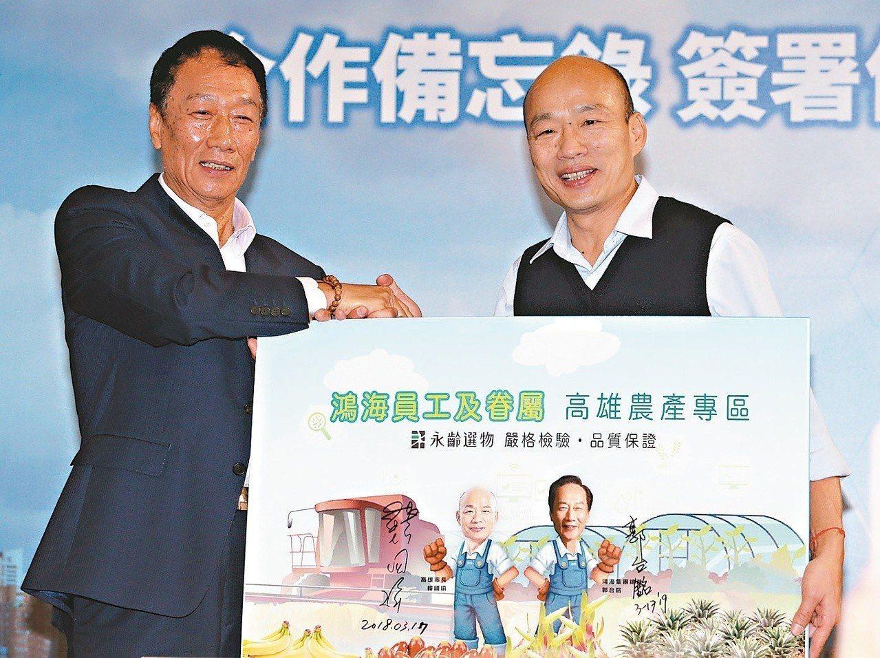 國民黨中常會決議韓國瑜(右)、郭台銘(左)等人都納入2020大選初選機制,韓國瑜...