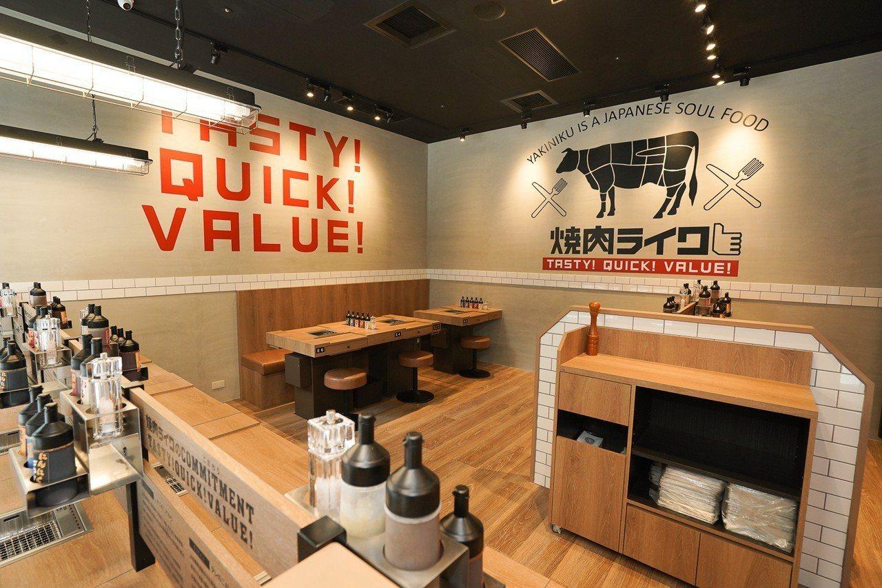 「燒肉LIKE台北京站店」擺脫以往燒肉店昏暗形象,延續日本設計,以輕快、時尚、年...