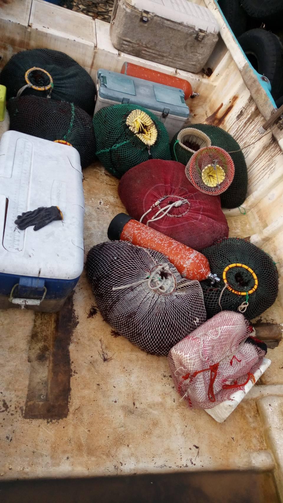 海巡署第二岸巡隊無人機區隊,查獲一艘漁望海巷漁港附近海域違法採捕石花菜。記者游明...