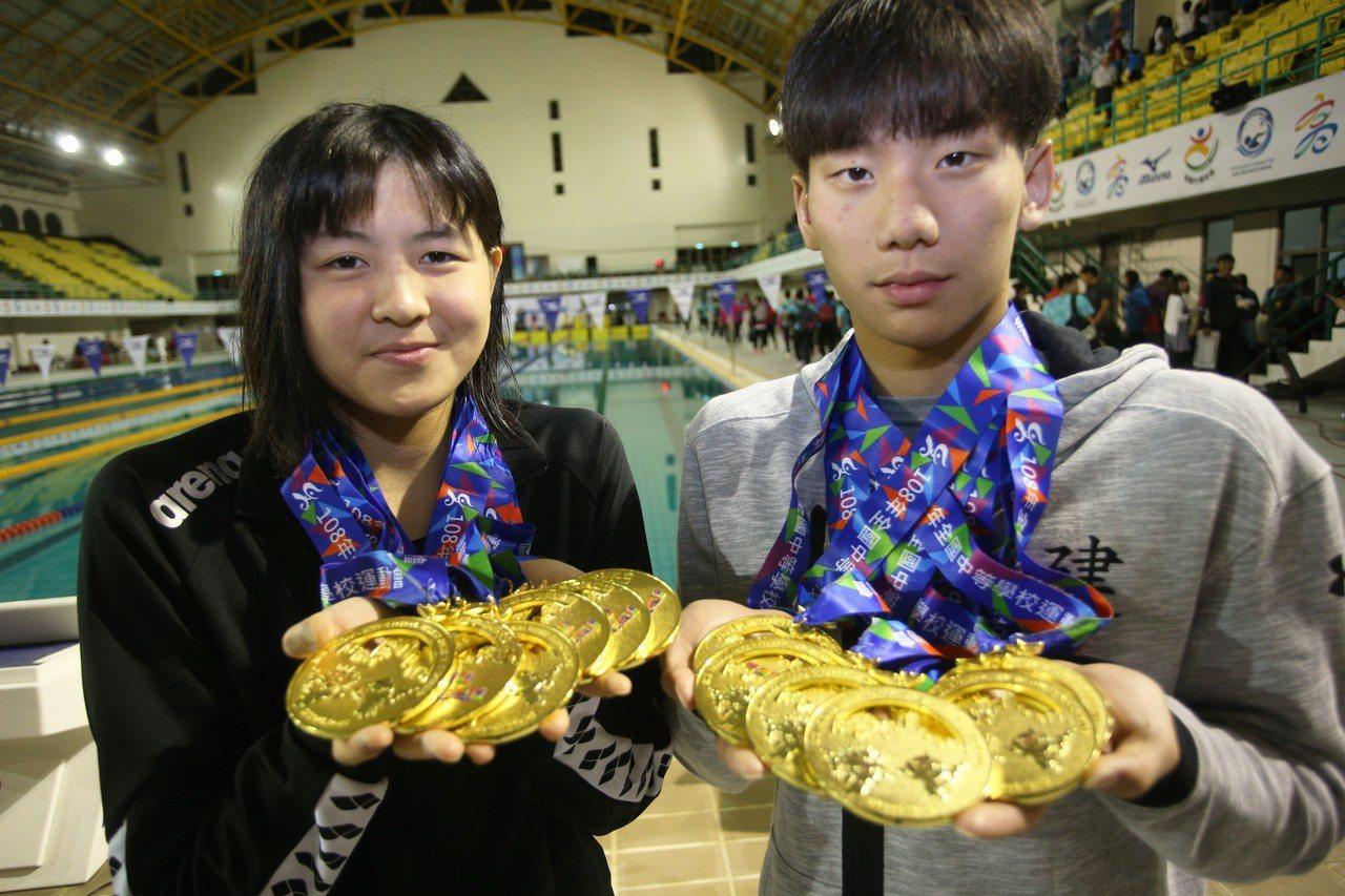 陳思綺(左)和王冠閎都橫掃六金,是今年全中運大贏家。記者劉學聖/攝影