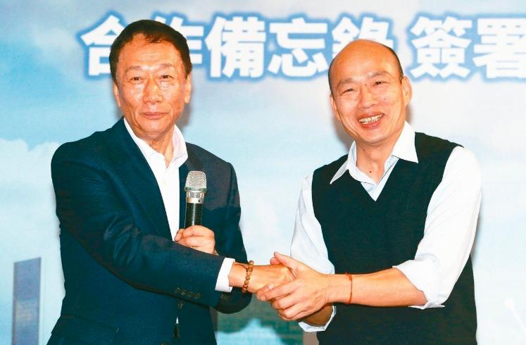 郭台銘(左)與韓國瑜被外界視為國民黨高人氣總統參選人。圖/聯合報系資料照片