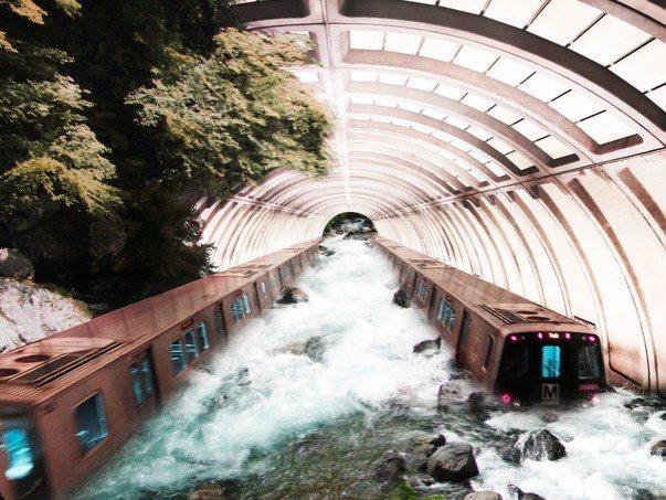 通過Photoshop把地鐵站的照片和此前到各地旅遊拍的風景照進行二次創作,弗里...