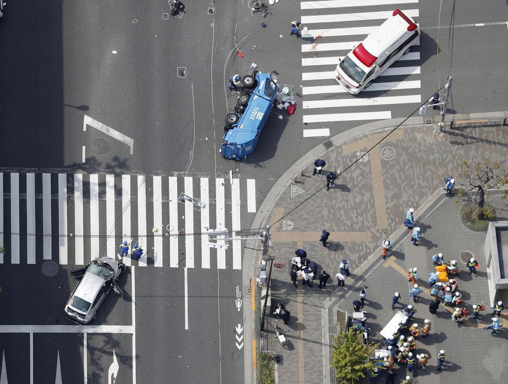 圖為池袋暴走事故現場。這次的悲劇引起日本社會極大的關注,社群網站包括推特、臉書等...