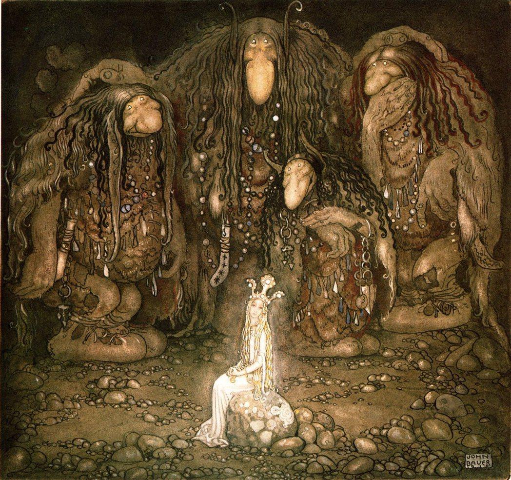 身軀龐大笨重、麻子臉加上又扁又長的鼻子——19世紀初的瑞典神話故事集《妖精與山怪...
