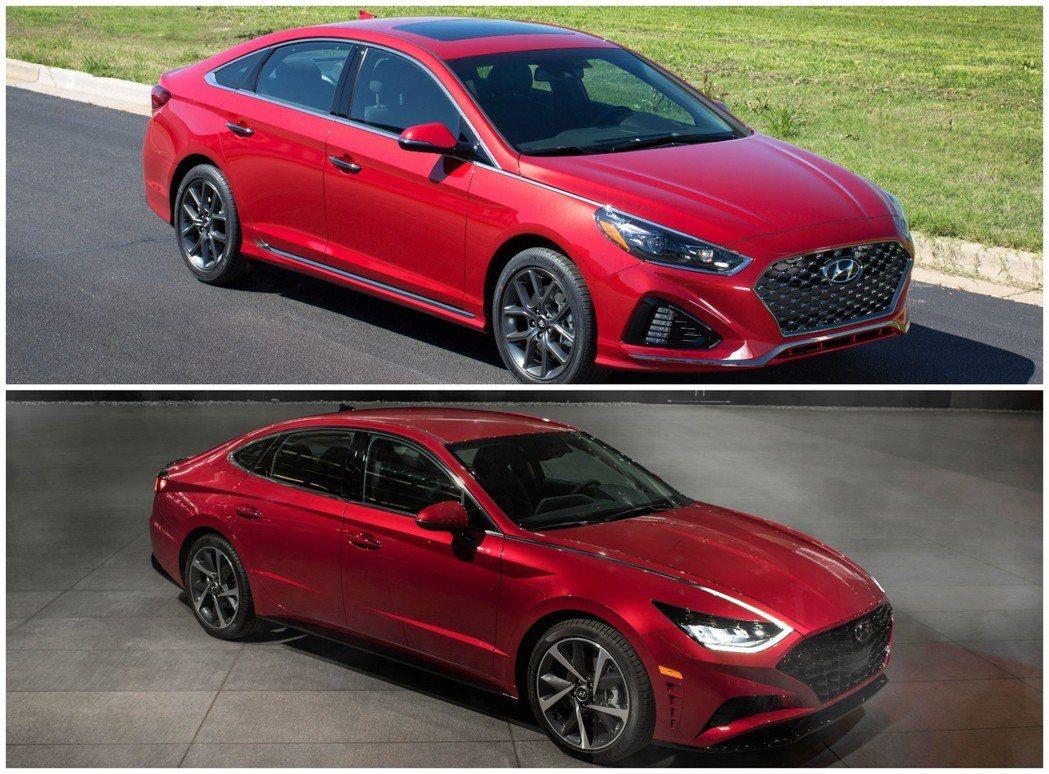 圖上為第七代Hyundai Sonata,圖下為新世代Hyundai Sonat...
