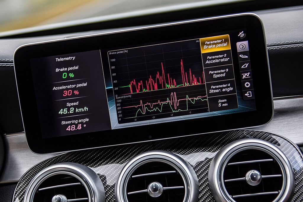 AMG Track Pace賽道駕馭應用程式,能以每秒10次的頻率計算超過80項...