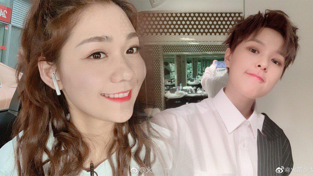 Sunnee(右)與段奧娟(左)。圖/擷自微博