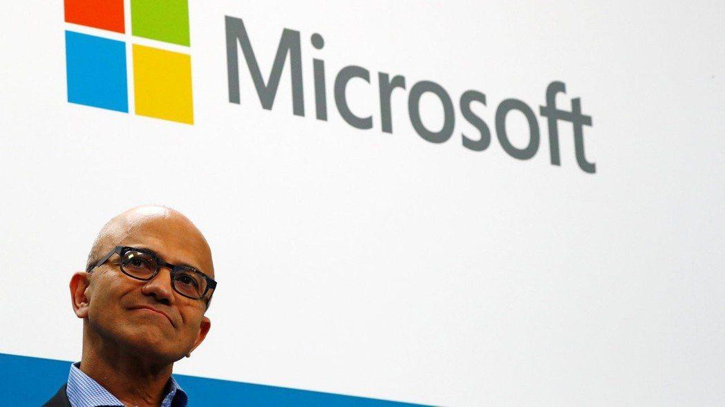 微軟財報出色,市值周三一度突破1兆美元。  (路透)