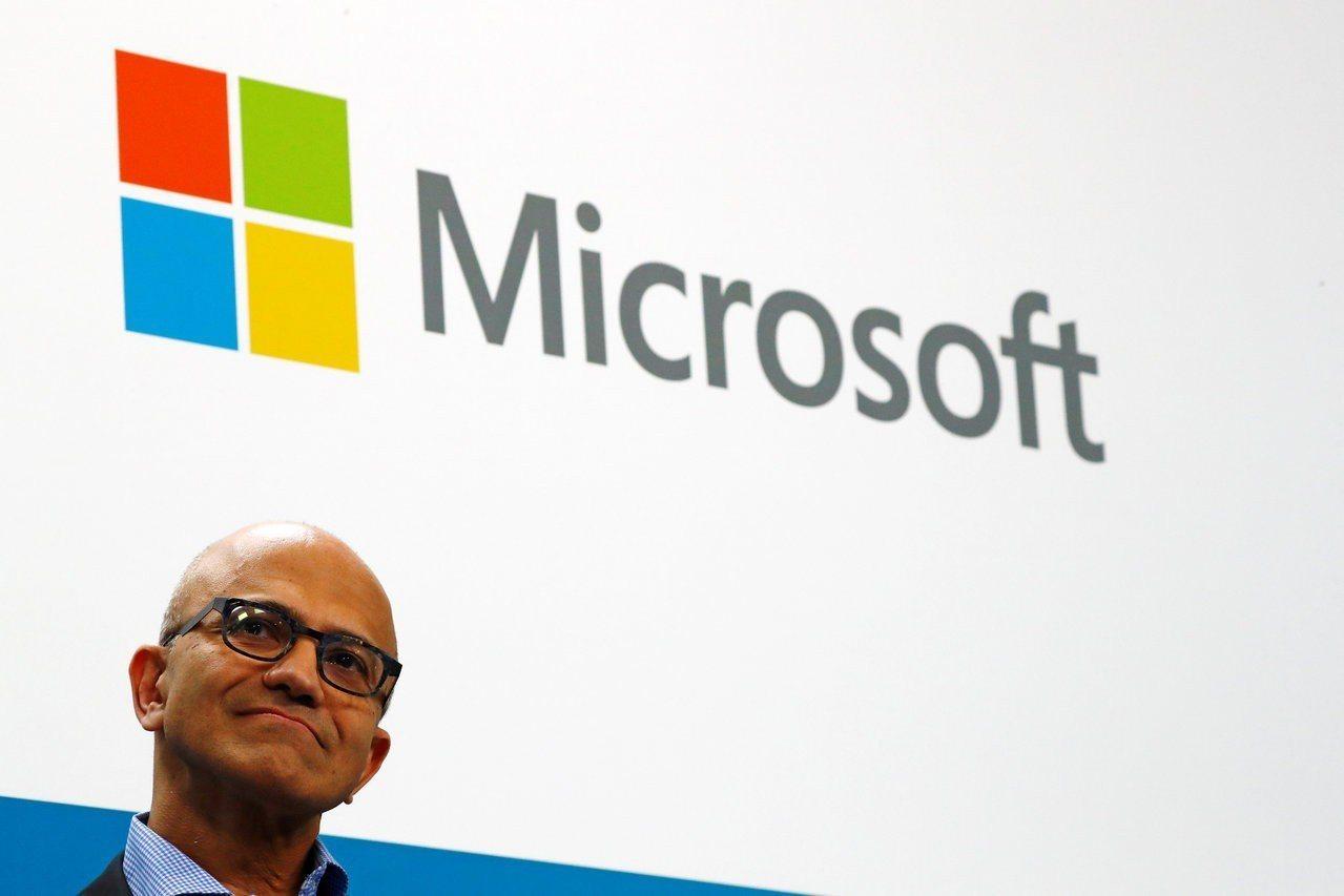 微軟財報出色,市值周三一度突破1兆美元。 路透