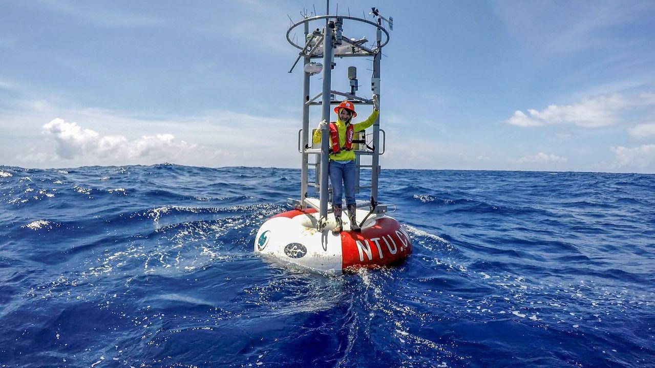台灣大學海洋研究所教授楊穎堅教授團隊自建二組海氣象浮標,發現2016年尼伯特颱風...