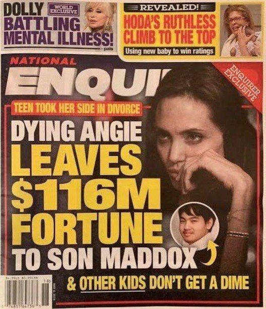 安琪莉娜裘莉被指時日無多,破億美元遺產都只留給大養子麥杜斯。圖/摘自Nation...