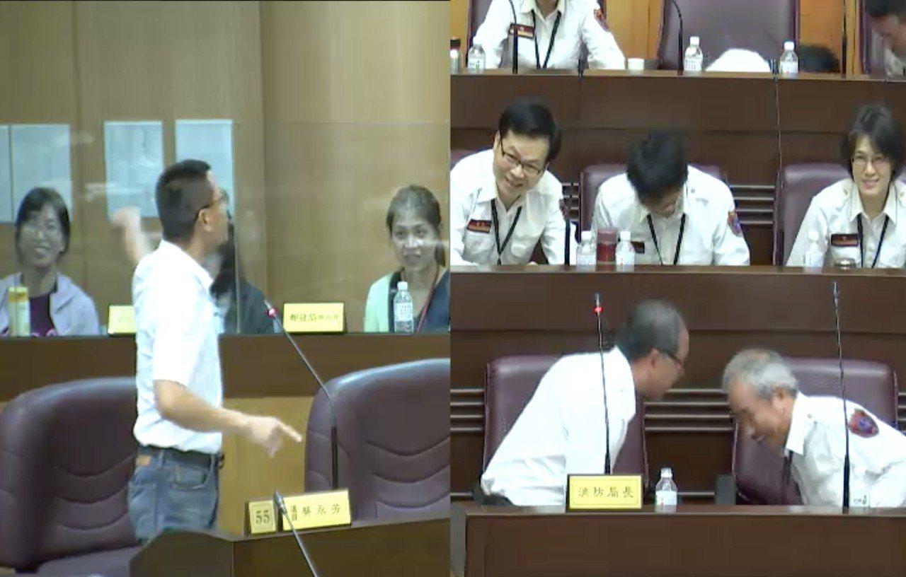 蔡永芳(左)喊「地震來了!」要消防局長謝呂泉(前排中)等人全部趴下。圖/截自桃園...