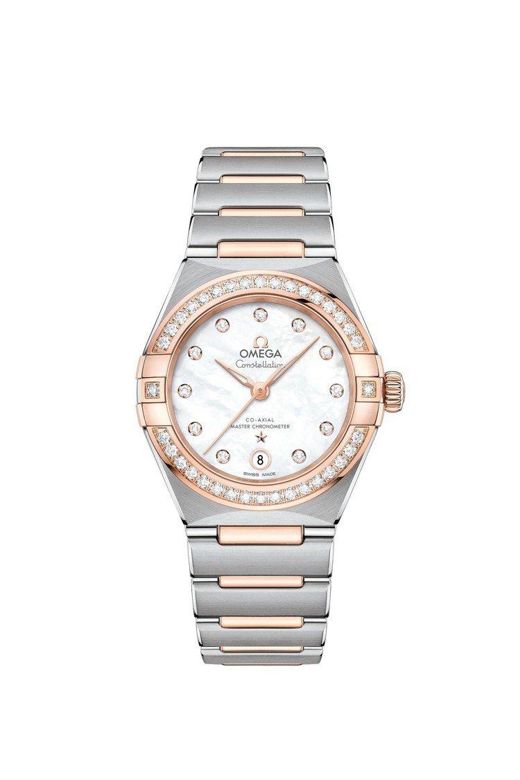 歐米茄星座系列曼哈頓腕表,18K sedna™金表圈搭配不鏽鋼表殼,表徑29毫米...