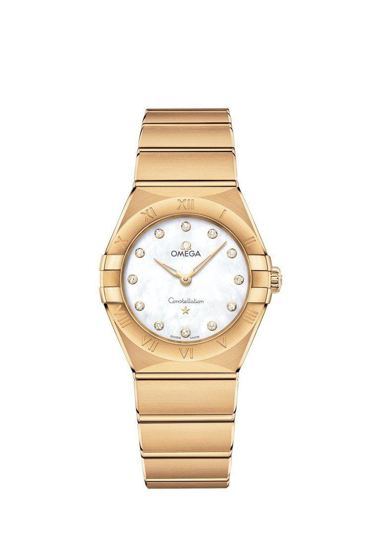 歐米茄星座系列曼哈頓腕表,18K黃金表殼、表鍊,28毫米表徑,搭載石英機芯, 約...