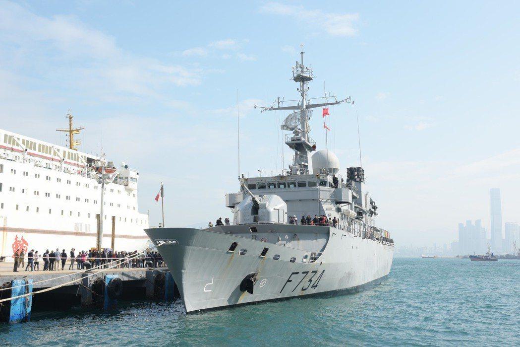 法國葡月號巡防艦2018年2月曾訪問香港。(中通社)